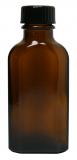 Glasflasche, 50 ml, braun, flach-eckig, mit Verschlusskappe schwarz