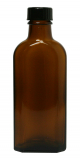 Glasflasche, 100 ml, braun, flach-eckig, mit Verschlusskappe schwarz