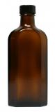 Glasflasche, 150 ml, braun, flach-eckig, mit Verschlusskappe schwarz