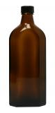Glasflasche, 250 ml, braun, flach-eckig, mit Verschlusskappe schwarz