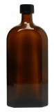 Glasflasche, 500 ml, braun, flach-eckig, mit Verschlusskappe schwarz