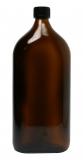 Glasflasche, 1000 ml, braun, flach-eckig, mit Verschlusskappe schwarz