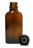 Glasflasche, 50 ml, braun, flach-eckig, mit Verschlusskappe schwarz und Gießring