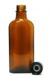 Glasflasche, 100 ml, braun, flach-eckig, mit Verschlusskappe schwarz und Gießring