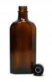 Glasflasche, 150 ml, braun, flach-eckig, mit Verschlusskappe schwarz und Gießring