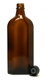 Glasflasche, 250 ml, braun, flach-eckig, mit Verschlusskappe schwarz mit Gießring