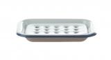 Seifenschale Emaille, 2-teilig • weiß mit blauem Rand