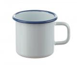 Becher 8 cm zylindrisch weiß mit blauem Rand