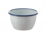 Salatschüssel 12 cm Emaille weiß mit blauem Rand