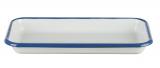 Auflaufform,22x12 cm Emaille weiß mit blauem Rand