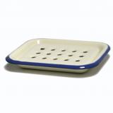 Seifenschale Emaille, 2-teilig • creme mit blauem Rand