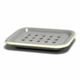 Seifenschale Emaille, 2-teilig • grau mit hellem Rand