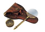 Lupe mit Messinggriff und Kompass in Lederetui • 14 cm